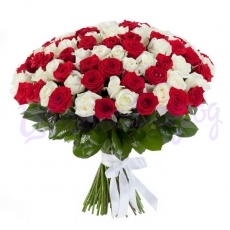 "Букет ""101 красно-белая роза"""